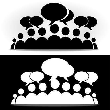 Black and white social community forum Illustration