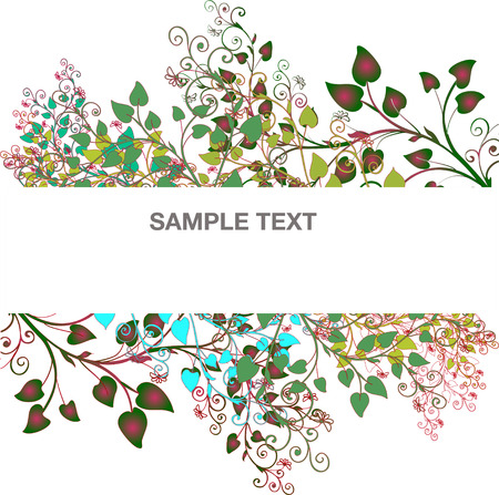 Banner branches of trees and the petals Vector
