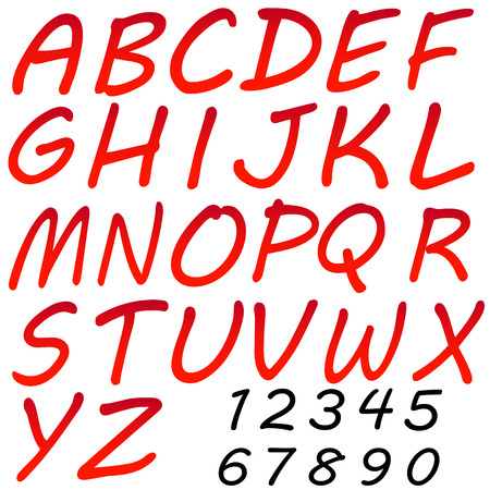 Vector alphabet letters and numbers