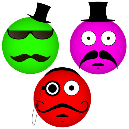Vector emoticons with a mustache