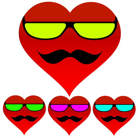sideburns: heart with glasses and mustache