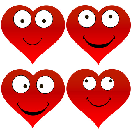 Heart with funny emoticons Illustration