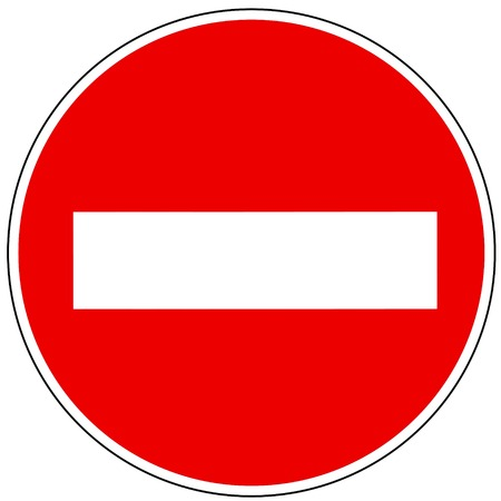 Prohibiting sign with travel on a one-way street