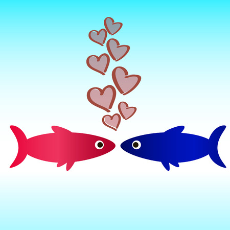 Fish in love wallpaper Stock Vector - 27294226