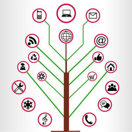 Wood Social Media Icons Illustration