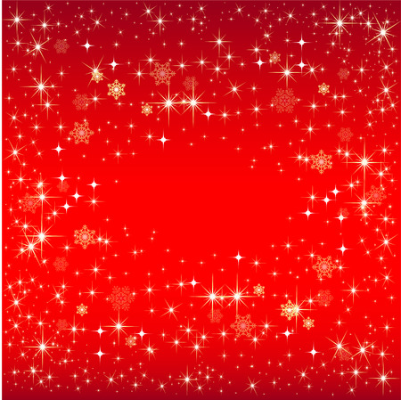 Christmas red background with snowflakes and stars
