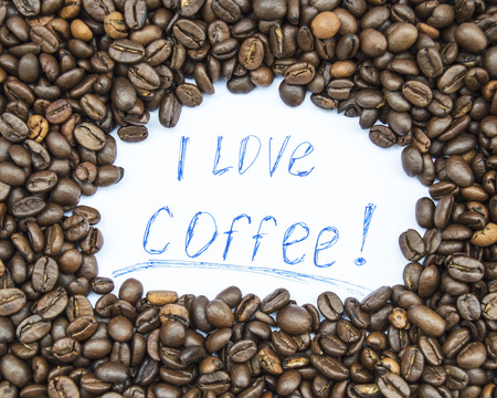 I love coffee text with coffee beans
