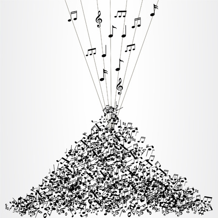 mozart: Bunch of music notes Illustration