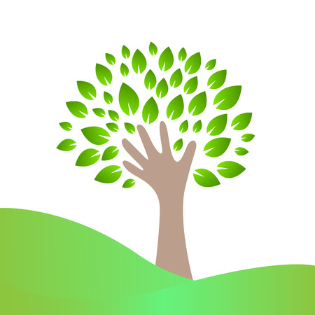 Hand and leaves Vector