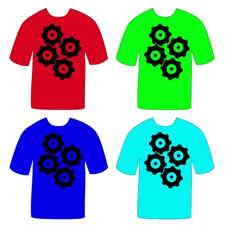 Colorful T-shirts with a picture gears