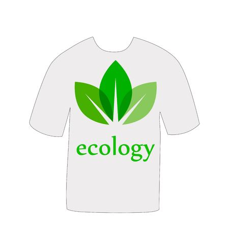 T-shirt with a picture of leaves Illustration
