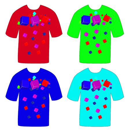 Colorful T-shirts with cubes