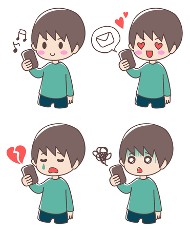 Boy and smartphone expression set