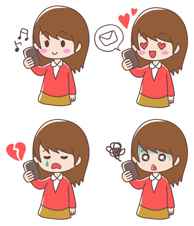 Girl and smartphone expression set Ilustrace