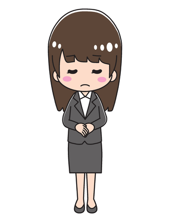 Woman in suit apologizing