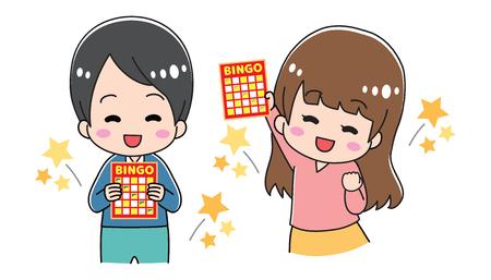 Niño con cartulina de bingo Ilustración de vector
