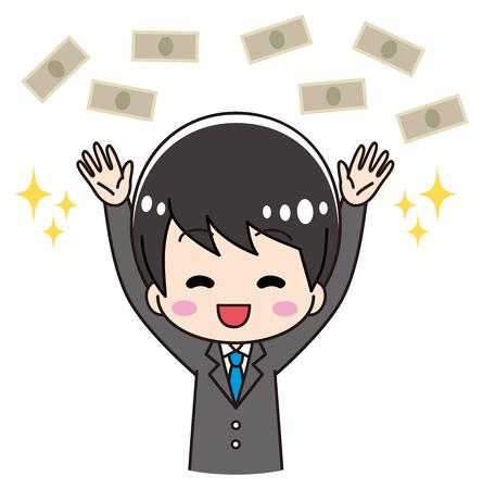 Men in suit happy with money