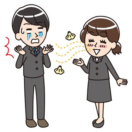 Bad breath woman Иллюстрация