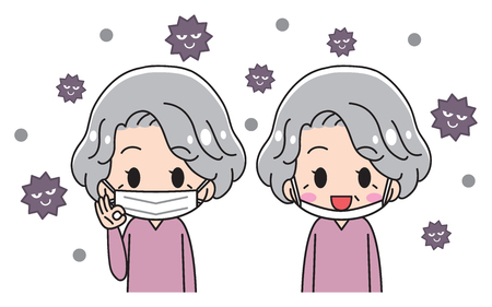 Seniors putting on masks