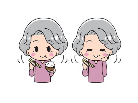 Senior woman biting objects Illustration
