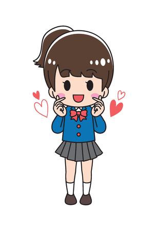 High school girl doing finger heart Illustration