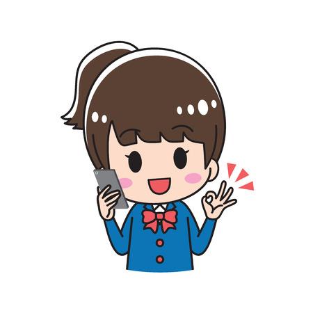 OK high school girl  イラスト・ベクター素材