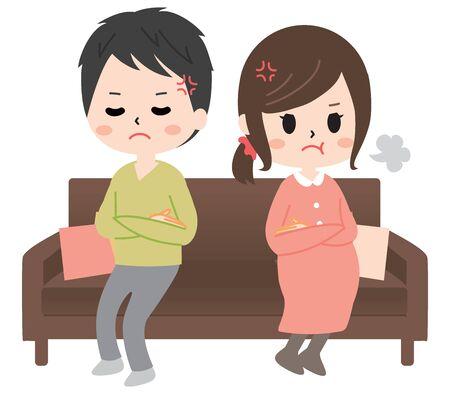 couple having a marital quarrel on a sofa