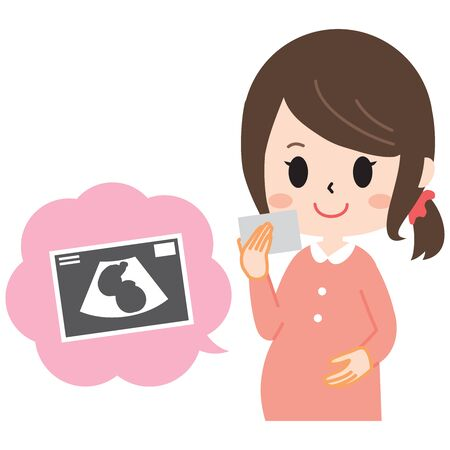 Pregnant woman with ultrasound picture