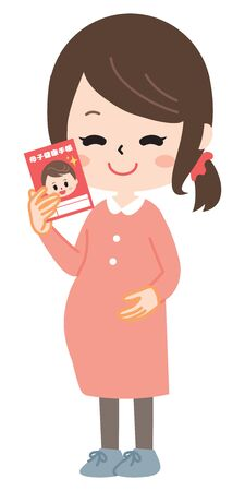 Pregnant woman with mother and Child handbook Ilustração