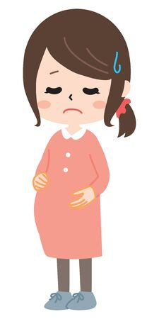 Pregnant woman with troubled face Illustration