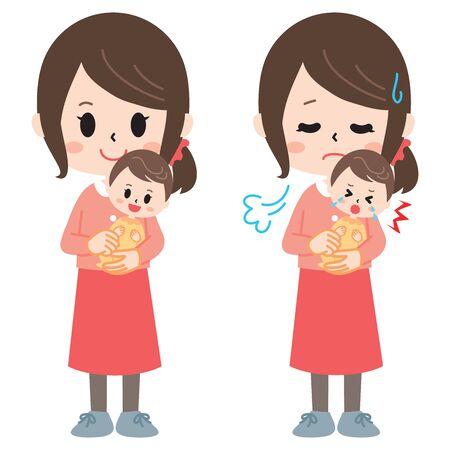 El ama de casa que se dedica a la crianza de los hijos Ilustración de vector