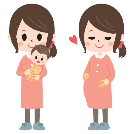 The Housewife Who Engages in Child-Rearing  イラスト・ベクター素材