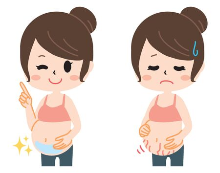 Two types of pregnant women suffering from pregnancy line