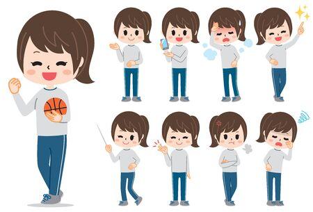 Girl in gym clothes set Ilustração