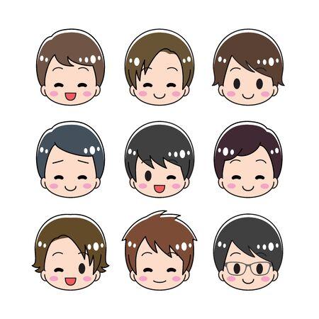 Male face icon Set