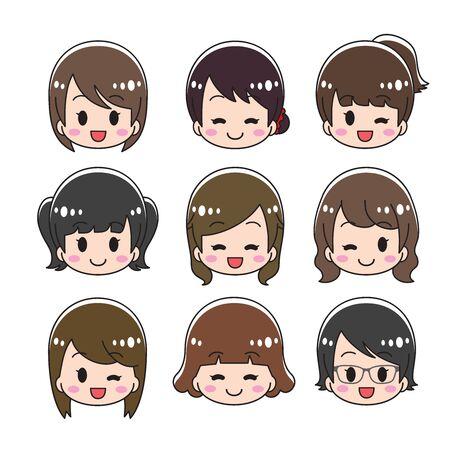 Female face icon Set