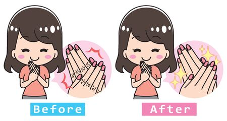 Finger hair hand care young woman