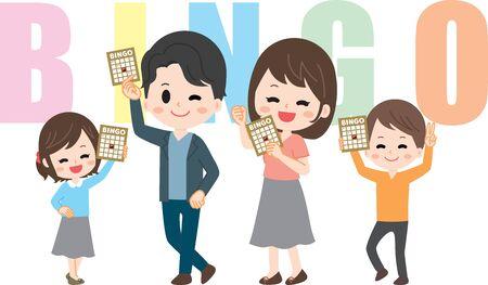 Family with bingo card 스톡 콘텐츠 - 134916620