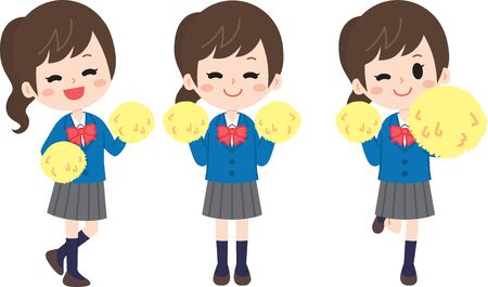 Cheering high school students Ilustração