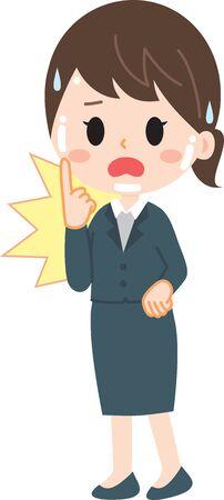 A woman who suffers from facial irritation Illusztráció