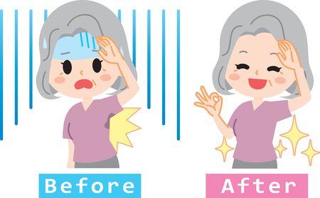Surprised senior woman set to sweat aside Stock Illustratie