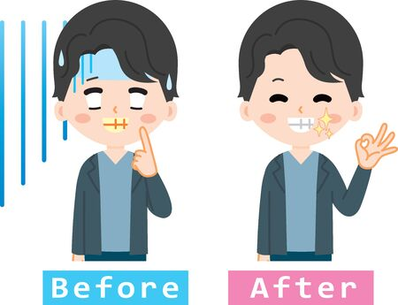 Men suffering from yellowing of teeth Illustration