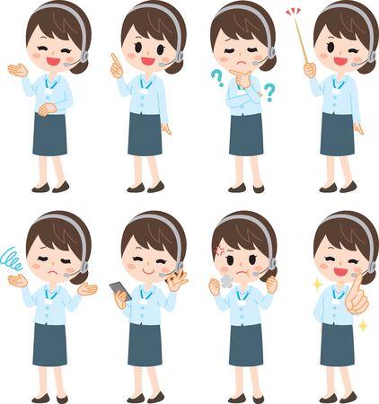 Operator woman illustration set