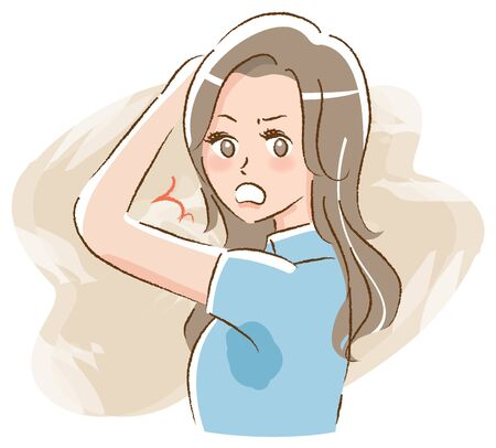 Woman surprised by armpit sweat Stock Illustratie