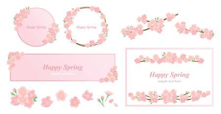 Spring cherry blossom illustration set Vector Illustration