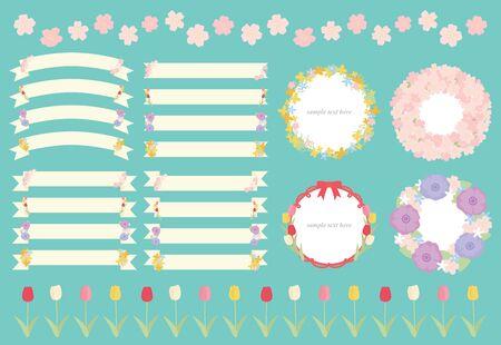 Illustration set of ribbons and frames