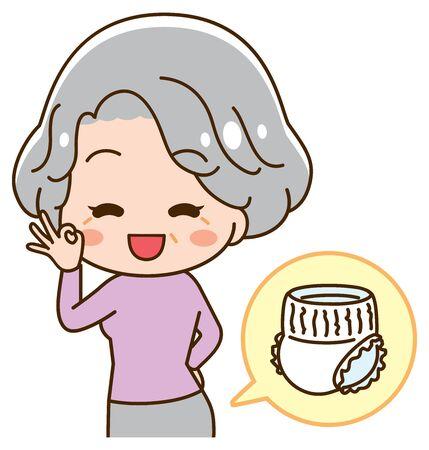 Senior lady wearing diapers