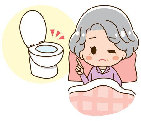 Senior woman getting up at night Illustration