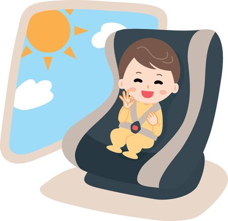 Child seat baby illustration