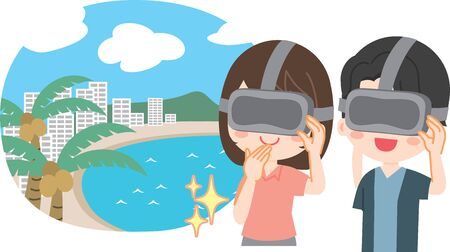 Illustration of a young couple VR travel